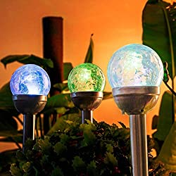 crackle glass solar path lights