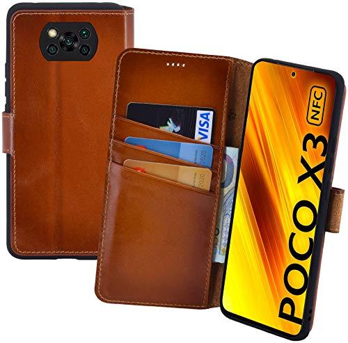 Suncase Book-Style Hülle kompatibel mit Xiaomi Poco X3 NFC Leder Tasche (Slim-Fit) Lederhülle Handytasche Schutzhülle Hülle mit 3 Kartenfächer in Burned-Cognac
