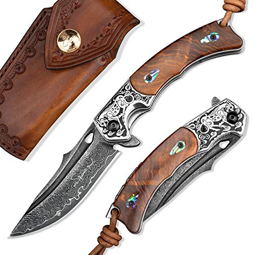 SPIRIT DEED Handmade Japanese VG10 Damascus Steel Folding Knife,Rosewood Liner Lock Handle, Leather Sheath,EDC Pocket Knives for Men Outdoors Camping Fishing
