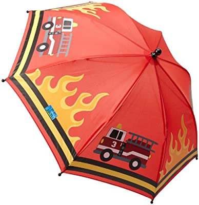 Boys Umbrella Red with Fire Truck and Flames