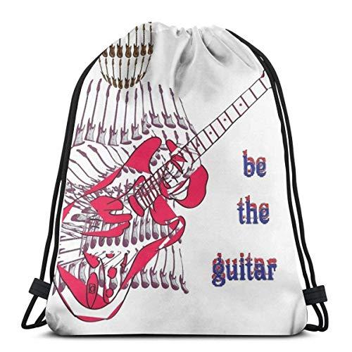 Bingyingne Guitarra Hombre Bolsa con cordón Bolsa deportiva Bolsa de viaje Bolsa de regalo Bolsa de regalo Mochila de fitness, mochila escolar, bolsa de viaje