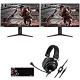 LG 32GN550-B 32-inch Ultragear FHD 165Hz HDR10 Gaming Monitor with G-SYNC (2-Pack) Bundle with Audio-Technica Premium Gaming Headset and Deco Gear Large Extended Pro Gaming Mouse Pad