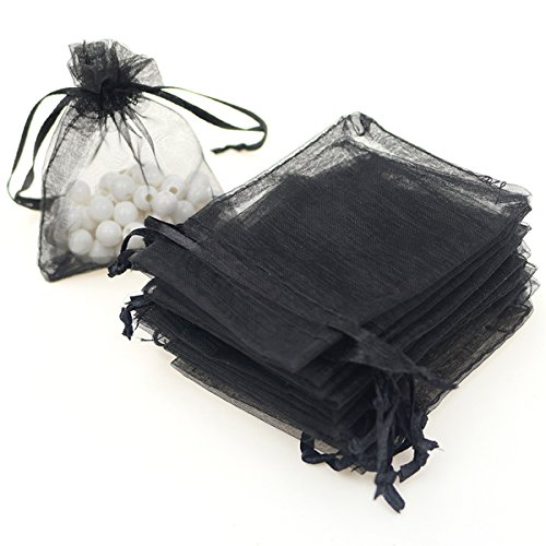 "AKStore 100PCS 4x6"" (10x15cm) Drawstring Organza Jewelry Favor Pouches Wedding Party Festival Gift Bags Candy Bags (Black)"