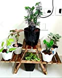 Living Room Side Stand Material- wood Plant Stand with 3 Decks Colour- Brown