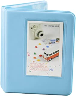 LEDMOMO 64 Bolsillos Mini Álbum de Fotos para Fujifilm Instax Mini LOMO Sofort 3 Pulgadas Cubiertas de Tela Álbum de Recortes Álbum de Fotos Libro de Almacenamiento (Azul cielo)