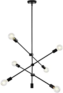 WFZRXFC Lámpara de Techo Minimalista nórdica posmoderna Línea geométrica Arte Colgante Luz Estilo Rural Lámpara de Granja 6 Luces Candelabro Sputnik