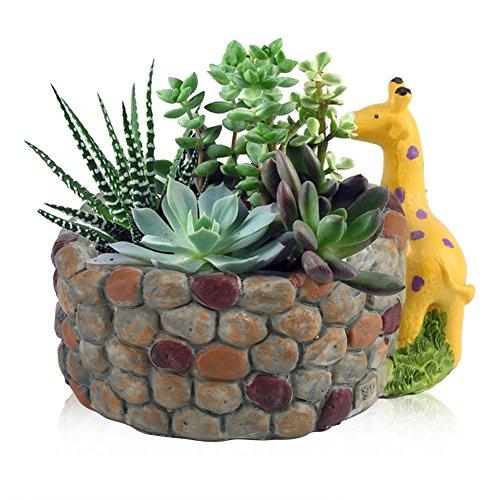 Zerodis Resin Succulent Pot Animal Shaped,Artificial/Live Succulent Plants Contain Herb Flower Basket Planter Garden Home Decor(Giraffa)