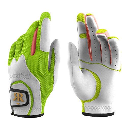 ROLF ZUIK Premium Frauen Damen Golf Handschuhe Paar Links und Rechts Hände Stretch Eine Größe Passend für Alle, Green/White/Pink, Einheitsgröße