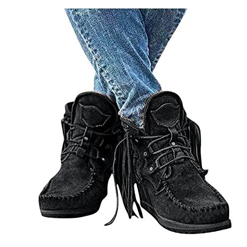 Stivaletti da donna in pelle scamosciata, stile retrò, con nappa, con stivali alla moda, stivali invernali caldi, Nero , 39