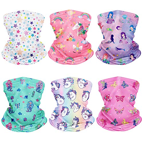 CIKIShield 6Pcs Children Neck Gaiter Bandanas Kids Face Mask Girls Scarf Balaclavas Summer UV Protection (White/Pink/Colorful)