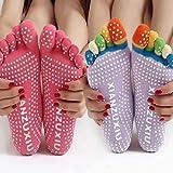 SHDFN - Calcetines de yoga antideslizantes con cinco dedos para mujer, talla única, color aleatorio, estilo con talón