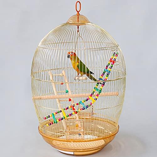Uccelli Gabbie Gabbie per Uccelli, Gabbia per Uccelli Portatile Gabbia per Uccelli Gabbia per Uccelli Carina alla Moda Dorata con Gabbie Rotonde con Casetta per Gli Uccelli, Scala, Tazza d Acqua