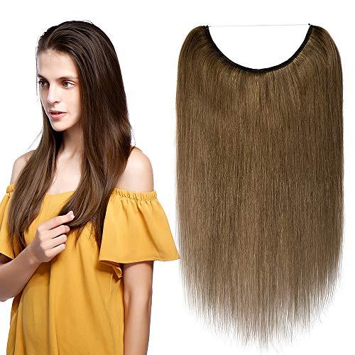 Extensions Echthaar mit Unsichtbarer Draht Hellbraun - Haarverlängerungen Haarteile Glatt Haarverdichtung Keine Clip 22