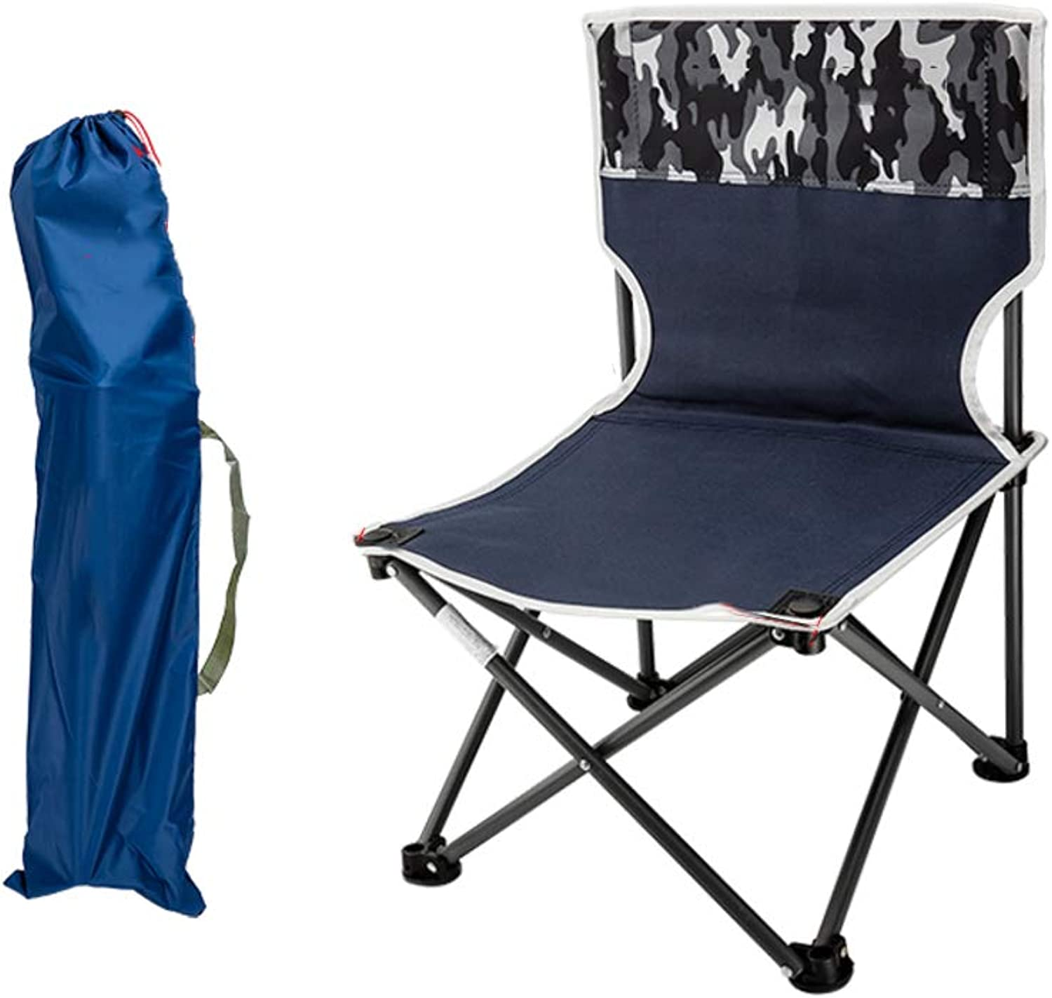 Outdoor Folding Stool Portable Camping Chairs, Fishing Sketch Beach Backrest Folding Chair LightweightCamouflage bluee M