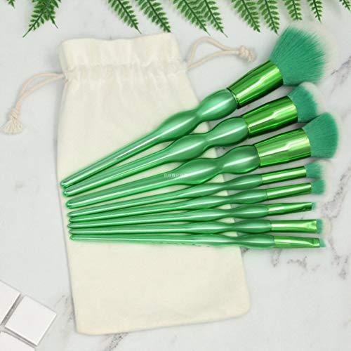 Ensemble de brosse de maquillage, 8 vert Gourde maquillage ensemble brosse maquillage brosse Fondation crème blush contour correcteur