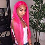 Premium Rose Red Wig Best Lace Front Wigs Red Pink Straight Hairstyle Glueless Synthetic Hair Wigs for Black Women