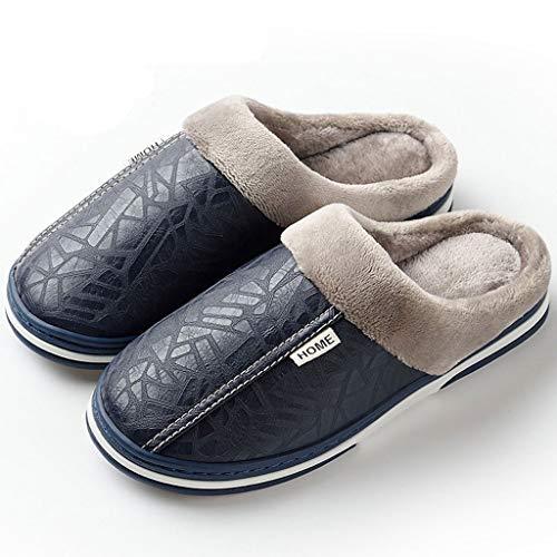 XZJJZ Zapatillas para Hombres Invierno Invierno Zapatos de Abrigo Cálido de Fondo Grueso Peluche de Cuero a Prueba de Agua Zapatillas de algodón Hombre 2020, Size : 46-47
