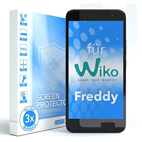 EAZY CASE 3X Panzerglas Bildschirmschutz 9H Festigkeit für WIKO Freddy, nur 0,3 mm dick I Schutzglas aus gehärteter 2,5D Panzerglasfolie, Bildschirmschutzglas, Transparent/Kristallklar