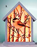 Stony Creek Birch & Chickadees Collection Lighted Wood & Glass Birdhouse, Choice of Style (A)