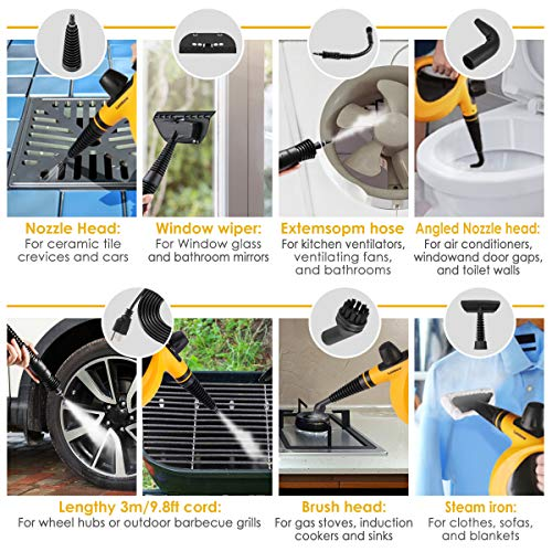 Dr. Purifier, Handheld Pressurized with 9-Piece Accessory Set Purpose and Multi-Surface All Natural, Chemical-Free Steam Cleaning for Home, Auto, Patio, More, Orange