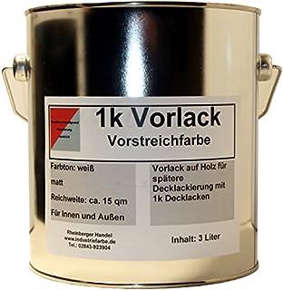 Kunstharz Vorlack, Vorstreichfarbe als Grundierung auf Holzbauteilen, innen und außen, 4,65 kg 3 Liter Gebinde, weiß matt