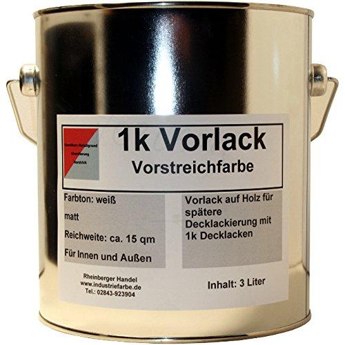 Kunstharz Vorlack, Vorstreichfarbe als Grundierung auf Holzbauteilen, innen und außen, 4,65 kg (3 Liter) Gebinde, weiß matt