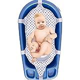 Baby Badesitz Badewannennetz Luxus BadeNetz Weiß/Blau Sevibaby Badewannensitz für Babys Bad