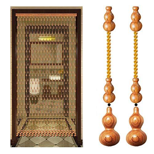 DX Kralen Gordijn Opknoping String Met Hout Gourd Hanger Drapes Kamer Divider Scherm Achtergrond Doorgang Raamdecoratie (Kleur : A, Maat : 29 strengen-100x198cm)
