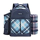 Eono by Amazon - 4 Person Picnic Backpack Hamper Cooler Bag con Juego de Mesa y Manta