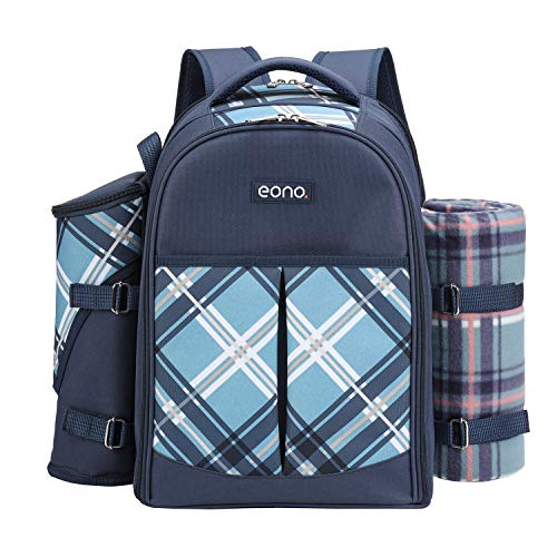 Eono by Amazon - 4 Person Picnic Backpack Hamper Cooler Bag with Tableware...
