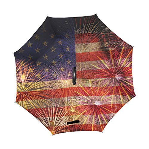 Best Review Of TropicalLife Double Layer Inverted Umbrella Fireworks Celebrate America Flag Independ...