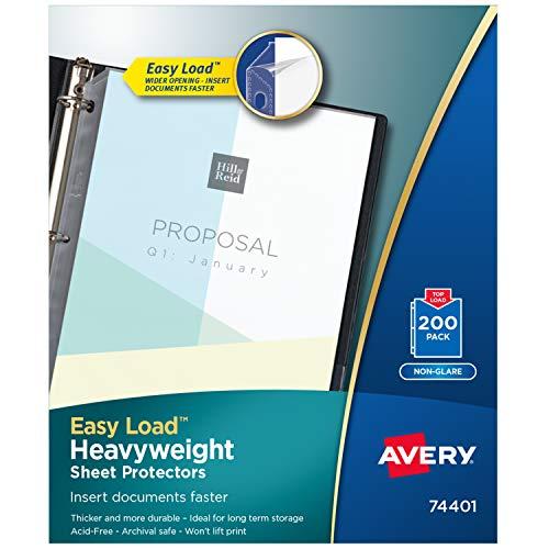 Avery Heavyweight Non-Glare Sheet Protectors, 8.5' x 11', Acid-Free, Archival Safe, Easy Load, 200ct (74401)