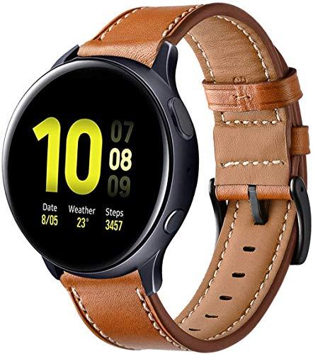 SPGUARD Compatible Correa Samsung Galaxy Watch Active 40mm,Pulsera Galaxy Watch Active Pulsera de Cuero Suave con Correa de Repuesto para Samsung Galaxy Watch Active-Marrón