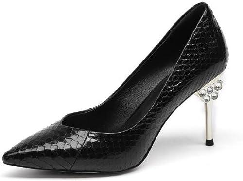DKFJKI Escarpins pour Femmes Talons Hauts Mode Cuir Cuir Véritable Stilettos Strass Chaussures de Travail Professionnelles Chaussures de Bal  en soldes