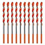 Juego de 10 Brocas Multifuncional Kit de Brocas de Aleación para Vidrio,Azulejos de Cerámica,Madera,Hormigón, Ladrillo 6mm Naranja
