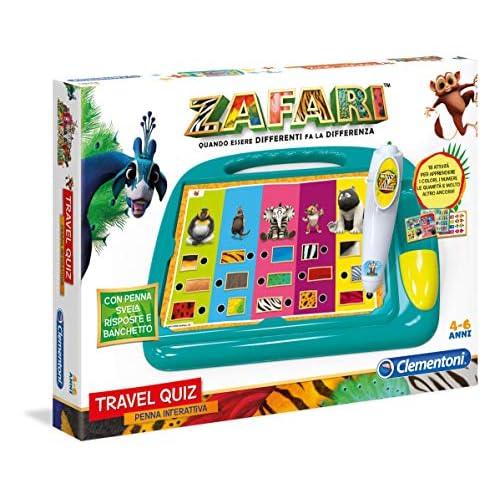 Clementoni - 16240 - Sapientino Travel Quiz Zafari - Made In Italy - Gioco Educativo Bambino 3 - 6 Anni, Elettronico Parlante Italiano Con Batterie, Multicolore