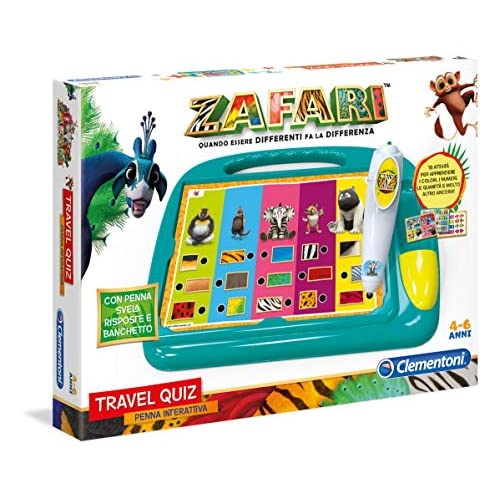 Clementoni - 16240 - Sapientino Travel Quiz Zafari - Made In Italy - Gioco Educativo Bambino 3 - 6 Anni, Elettronico Parlante Italiano Con Batterie, Multicolore