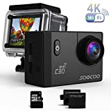 SOOCOO 4K WiFi アクションスポーツカメラ 防水カメラ C30 ビデオカメラ 20MP 2インチ LCD 170度 広角 30m 水中ビデオカメラ 2 1350mAh バッテリー 18 アクセサリーキット SDカードは含まれていません ブラック