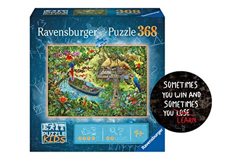Collectix Ravensburger EXIT Puzzle Kids 12924 - Die Dschungelexpedition - 368 Teile für Kinder ab 9 Jahren + Sometimes You Win - Exit-Sticker