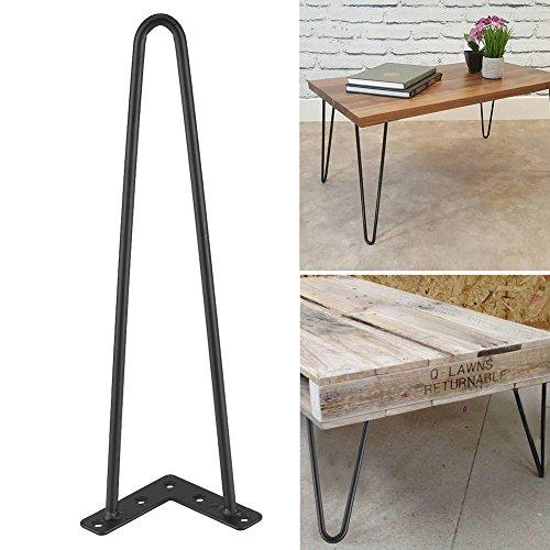 Haarnadel Tischbeine 4 Stück Metall Heavy Duty Modern-Stil Schreibtisch Beine Möbelfüße Austauschbare Tisch und Schrank Beine Länge 40 cm Durchmesser 10 mm Schwarz