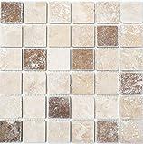 Mosaico baldosas Travertin piedra natural beige marrón Chiaro + Noche Travertin...
