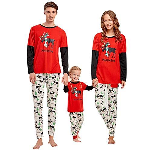 Akaddy Eltern-Kind-Kleidung Weihnachtsbäume drucken Langarmshirts Hosen (Mama L)