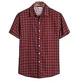 Camisa De Los Hombres Casual Retro Moda Solapa Hombres Manga Corta Vacaciones De Verano Versión Suelta Fresco Cómodo Transpirable Hombres Camisa Casual TC61-Red M