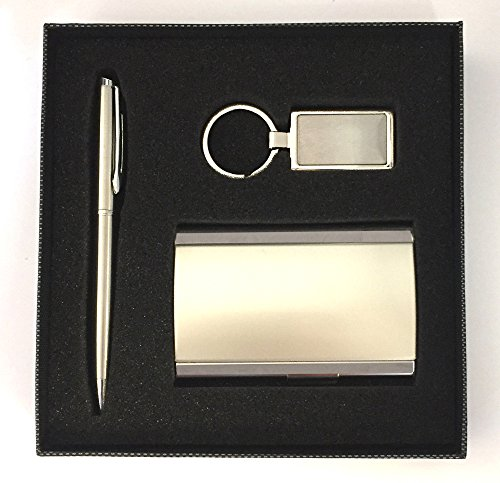 Upper Gifts Executive Gift Set - Business Card Case, Pen & Key Chain Set