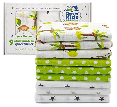 Clevere Kids Mulltücher | 9er-Pack Geschenkset | bedruckt | OEKO-TEX | doppelt gewebt | 70x80 | Spucktücher (Unisex)