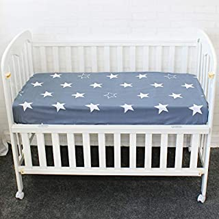 Crib Sheet Baby Pure Cotton Fitted for Newborn Cot Sheets Baby Bed Mattress Cover Cloud Elephant Crown Pattern for Infant Bed (Navy Star)