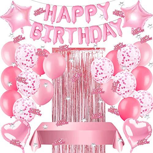 Sunshine smile Geburtstags Deko Mädchen,Rosa Geburtstagdeko Dekoration Set,Happy Birthday Girlande,konfetti Ballons,Herz folienballon,Stern folienballon,tischdecke,Glitzer Vorhang,Happy Birthday deko