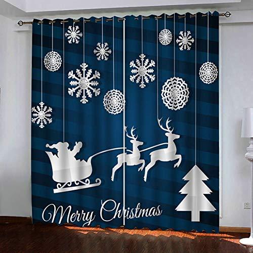 ANAZOZ 2 Cortinas Salon Cortina Poliester Exterior Copo de Nieve Papá Noel Ciervos y Árbol de Navidad Blanco Azul Oscuro Cortinas de Habitacion Tamaño 214x160CM