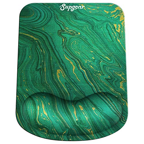 SUPGEAR Mouse Pad with Gel Wrist Rest Support, Gaming Mouse Mat Non-Slip Rubber Base, Comfortable Pad Ergonomic Design, Wrist Rest Pad Suitable for Laptop PC 10.8 x 8.3 Inch (Green Marble)
