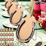 AerWo 20pcs Horse Shoes Favors with Kraft Tag, Metal Mini Craft Horseshoes Decorations for Rustic Vintage Wedding Party Decor